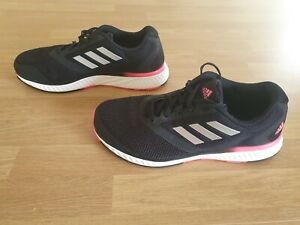 Ladies Adidas Trainers Size UK6 Black With White Soles And Pink Trims