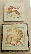 Stag Hunt Horned Animals Set German Art Nouveau Crafts Elchstatt Tile 1905-1915