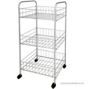 3 TIER CHROME PLATED  FRUIT & VEGETABLE RACK WITH WHEELS STORAGE STAND TROLLEY