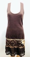 Moda International Dress Racerback Ribbed Crochet Sun Brown Crocheted Fitted