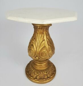 """Vintage Accent Table Gilt Acanthus Faux Marble Top Hollywood Regency Italian 16"""""""
