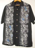 TOMMY BAHAMA 100% Silk Camp Shirt Sz M Black Gray Floral Panels Blue Embroidery