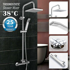Thermostatic Mixer Shower Set Square Bathroom Shower Bar Twin Head Exposed Valve