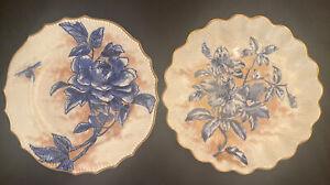 "Set 2 Doulton Burslem Wild Rose cobalt blue cream plates Gold Trim 9""W England"
