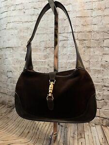 Very Vintage Gucci Jackie Hobo Shoulder Bag 1970s Vintage Brown Suede Leather
