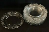 """FOSTORIA NAVARRE Salad Luncheon Plates Set of 10 Clear Etched Vintage 7 1/2"""""""