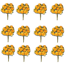 Craft Flowers -12mm Qty x 144 Mini Mulberry Paper Rose - Light Orange