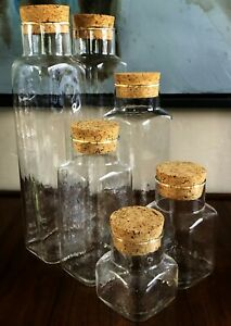 6 MCM SQUARE GLASS CORK STOPPER KITCHEN FOOD STORAGE APOTHECARY CANISTER JAR SET