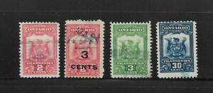 Canada Stamps: Ontario; 1910-26 Stock Transfer Issue; 4 Different; Used