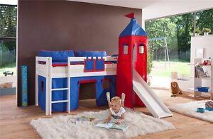 Vorhang mit Turmzelt Stoff für Hochbett Spielbett Kinderbett blau rot Klettband