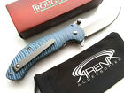 Blue Wave Texture Spring Assist Flipper Pocket Knife Stonewash Blade EDC Tip Up