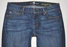 7 For All Mankind FAM Dark Med Blue Straight Leg Jeans Sz 26 X 27.5 USA STUNNING