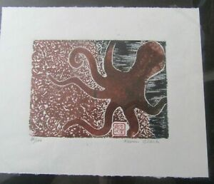 Octopus Sea woodcut woodblock print Japanese moku hanga Washi signed original