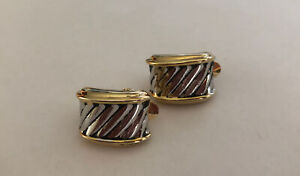 Vintage Gold n silver Clip Chunky Hoop Huggie clip Earrings 90s