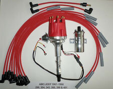 small cap AMC JEEP 290,304,360,390,401 HEI Distributor + Chrome Coil +Plug Wires