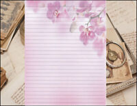Pink Floral Edged  Lined Stationery Writing Paper Set, 25 sheets & 10 envelopes