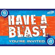 NERF INVITATIONS (8) ~ Birthday Party Supplies Stationery Cards Notes Hasbro