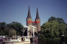 PHOTO  NETHERLANDS OUDEWATER 1989 CANAL TOWERED GATEHOUSE AND BASCULE BRIDGE