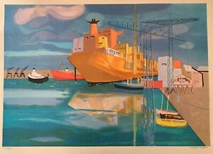 """Georges Lambert """"Brest"""" Signed Limited Edition Lithograph on Paper HC 34/50"""