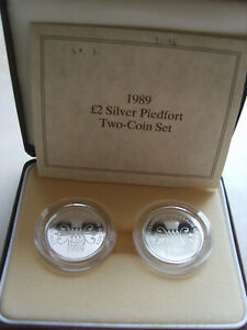 Great Britain UK Set 2 x 2 pounds 1989 Right Piedfort  Silver 63,92gr  Proof  №3