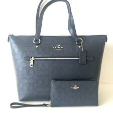 Coach Gallery Tote Blue Signature Perforated Leather Purse Wallet Set NWT $606