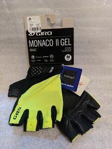Giro Monaco II Gel Cycling Gloves Size Medium Highlight Yellow New