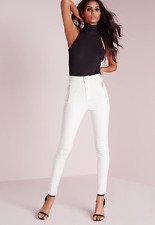 MISSGUIDED Vice Highwaisted Zip Detail Skinny Jean White SIZE 8 US