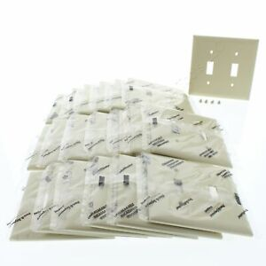 20 P&S Trademaster Ivory 2Gang Toggle Switch UNBREAKABLE Wallplate Covers TP2-I