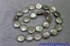 """DIY Fresh water pearl necklace white Coin-pearl  Loose pearl 15mm 15"""""""