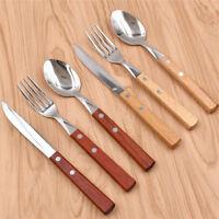 18Pcs Wooden Handle Cutlery Stainless Steel Flatware Tableware Home Fork Set