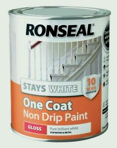 Ronseal Pure Brilliant White Stays White One Coat Non Drip Paint - All Sizes
