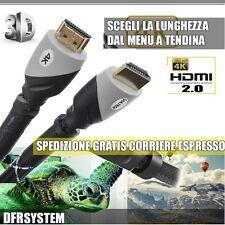 CAVO HDMI 4K 3D 2.0 60Hz PER TV VULTECH SCEGLI TRA 1,8 5 10 20 METRI NEW MODEL