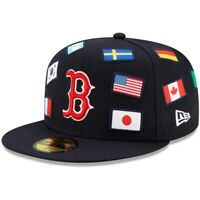 Boston Red Sox New Era All Over Flag Collection 59FIFTY Fitted Navy / Red