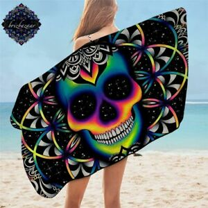 Chaos By Brizbazaar Bath Towel Colorful Skull Microfiber Beach Towel Shower