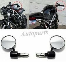 "Motorcycle CNC Aluminum Rearview 3"" Handle Bar End 7/8"" Side Mirrors Round Black"