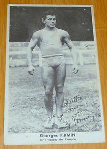 ancienne carte GEORGES FIRMIN CHAMPION DE FRANCE POIDS HALTERES dedicace