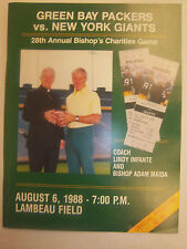 1988 PACKERS VS GIANTS NFL PROGRAM BISHOP'S CHARITY STARR NITSCHKE HUTSON  **