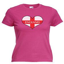 England Love Heart Flag Ladies Lady Fit T Shirt 13 Colours Size 6 - 16