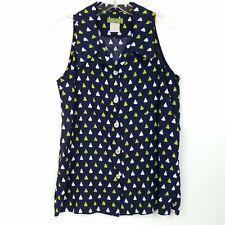 Esprit Women's Vtg Sleeveless Button Front Shirt Blouse Pear Print Blue size S