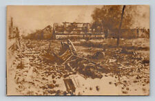 Antique WW1 GERMAN Real Photo RPPC Postcard DEAD HORSE & BOMBED RUINS CART