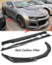 ZL1 Style CARBON FIBER Front Lip Splitter & Pair Side Skirts For 19-Up Camaro
