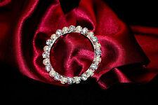 Hebilla de Plata Perla Diamante Redondo Slider 55mm Marco/Correa/Cinta/artesanía/Boda