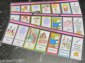 Visual to do Morning / Evening and After School Strips for Boy / Girl FREE P&P