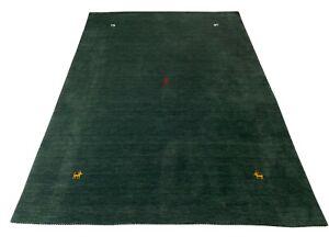Alfombra Gabbeh 100% Lana 250x350 CM Oriental Hecho a Mano Loom Verde Gris