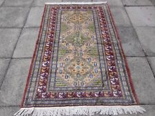 Old Traditional Hand Made Pakistan Oriental Wool Pink Beige Rug 190x120cm