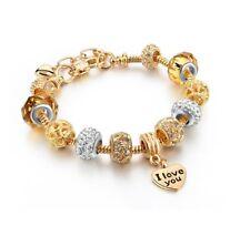 Stunning Gold Plated I Love You Rhinestone Charm Bracelet