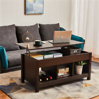 Modern Lift Top Coffee Table Dining Table Lift Tabletop W/ Hidden Storage Space