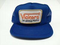 VTG-1980s Vickers Concrete Sawing mesh big patch trucker snapback hat cap blue
