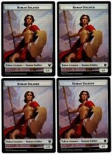 MTG - 4 x FOIL Human Soldier Tokens (2 Sided) - Theros Beyond Death (THB) M/NM