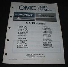 Parts Catalog OMC Evinrude Johnson 9.9 / 15 Models Ersatzteilkatalog 10/1986!